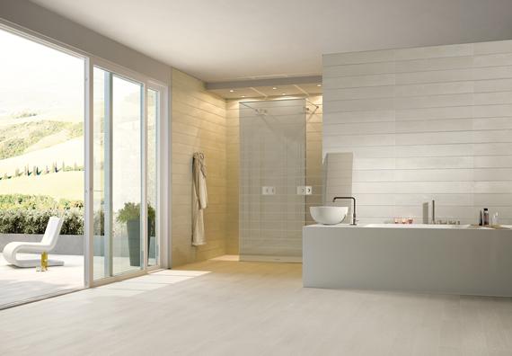 White porcelain floor tile bathroom